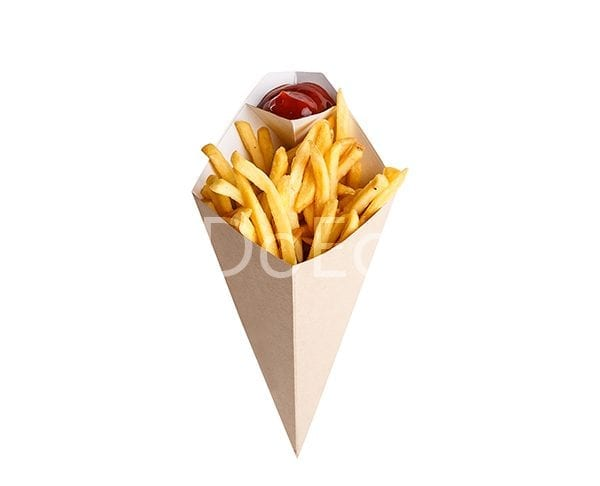 eco cone doeco 600x486 - Chip cone with dipping pocket